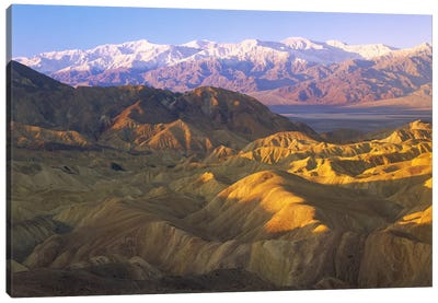 Looking At Panamint Range Over The Furnace Creek Playa From Zabriskie Point, Death Valley National Park, California Canvas Art Print