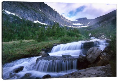 Lunch Creek Cascades, Glacier National Park, Montana Canvas Art Print