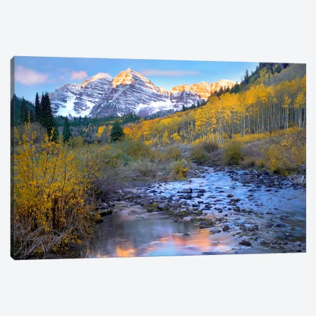 Maroon Bells And Maroon Creek In Autumn, Colorado Canvas Print #TFI574} by Tim Fitzharris Art Print