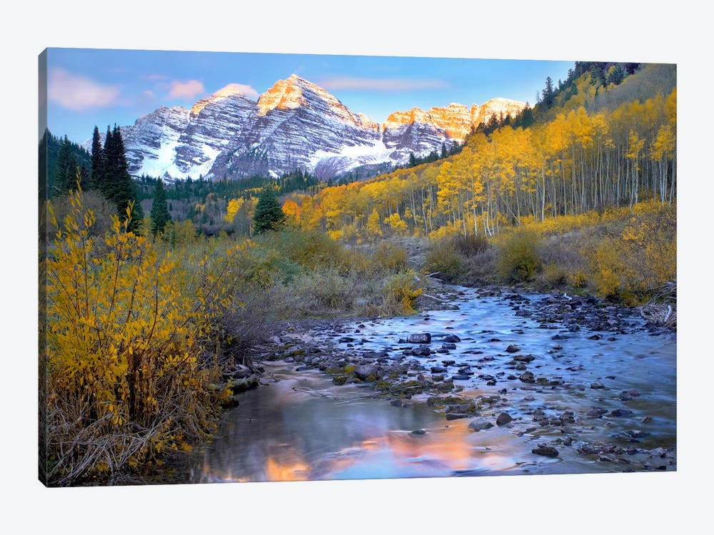 Maroon Bells And Maroon Creek In Autumn, Colorado by Tim Fitzharris 1-piece Canvas Art Print