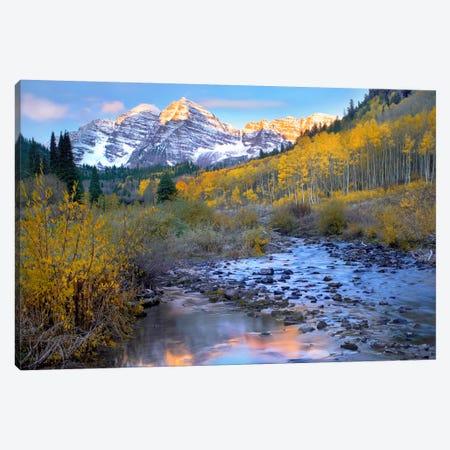 Maroon Bells And Maroon Creek In Autumn, Colorado Canvas Print #TFI574} by Tim Fitzharris Art Print