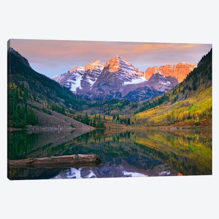 Maroon Bells Peaks Reflected In Maroon Lake, Snowmass Wilderness, Colorado Canvas Print #TFI575} by Tim Fitzharris Art Print