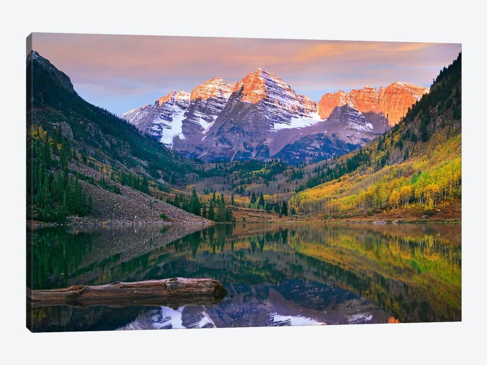 Maroon Bells Peaks Reflected In Maroon Lake, Snowmass Wilderness, Colorado by Tim Fitzharris 1-piece Canvas Wall Art