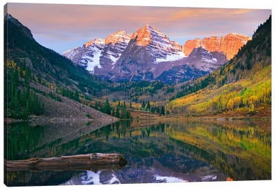 Maroon Bells Peaks Reflected In Maroon Lake, Snowmass Wilderness, Colorado Canvas Art Print