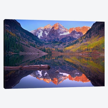 Maroon Bells Reflected In Maroon Bells Lake, Snowmass Wilderness, White River National Forest, Colorado Canvas Print #TFI576} by Tim Fitzharris Canvas Print