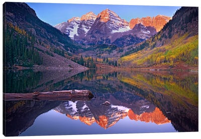 Maroon Bells Reflected In Maroon Bells Lake, Snowmass Wilderness, White River National Forest, Colorado Canvas Art Print