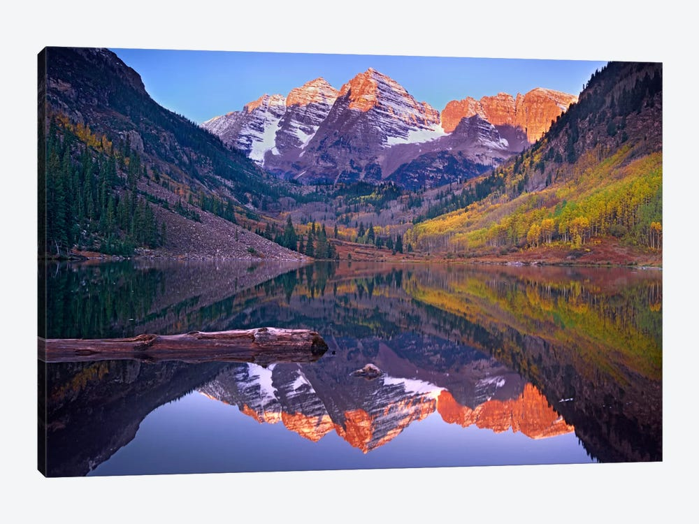 Maroon Bells Reflected In Maroon Bells Lake, Snowmass Wilderness, White River National Forest, Colorado by Tim Fitzharris 1-piece Canvas Print