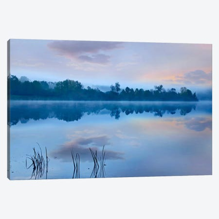 Mist Over Lackawanna Lake, Lackawanna State Park, Pennsylvania 3-Piece Canvas #TFI601} by Tim Fitzharris Canvas Art