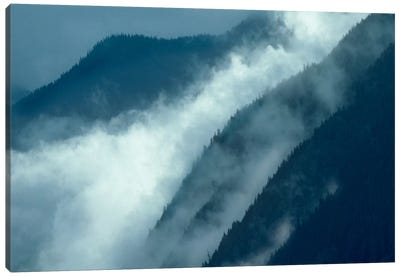 Mist Rising In The Cascade Mountains Near Hope, British Columbia, Canada Canvas Art Print