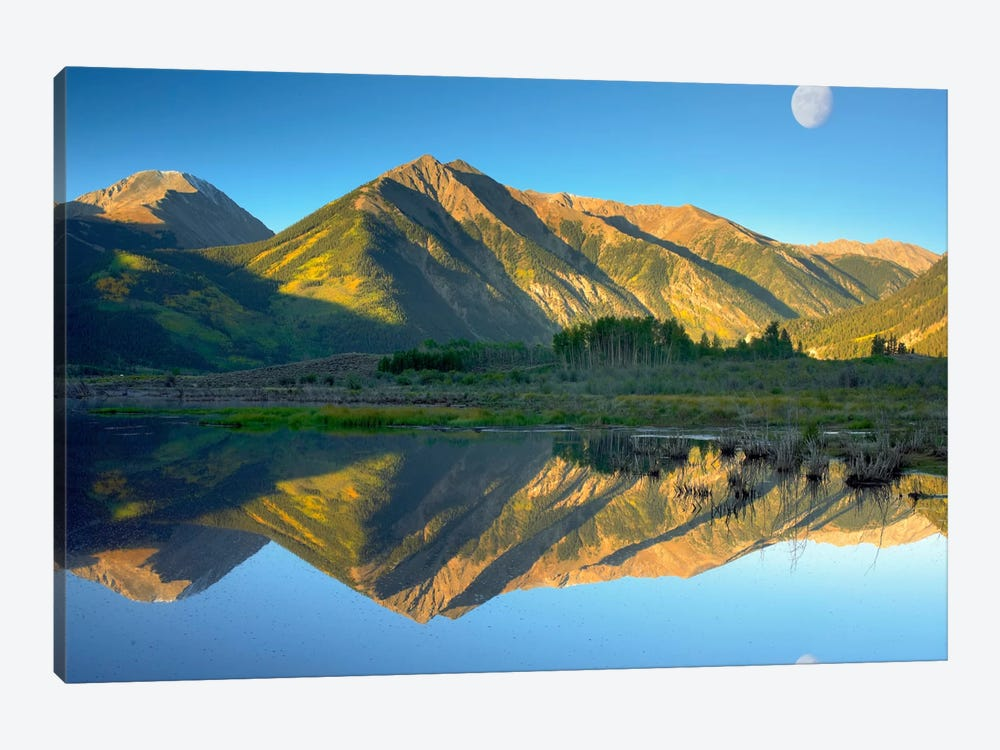 Moon And Twin Peaks Reflected In Lake, Colorado by Tim Fitzharris 1-piece Canvas Art Print