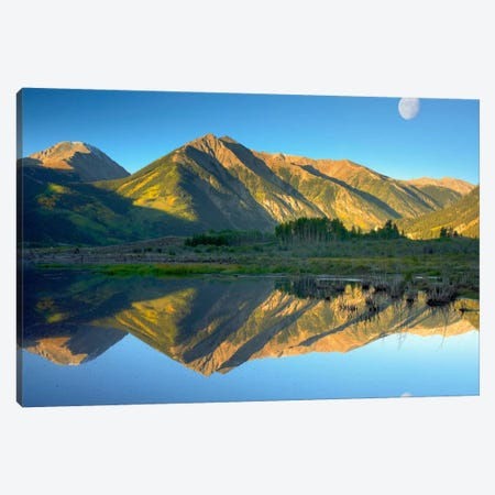 Moon And Twin Peaks Reflected In Lake, Colorado Canvas Print #TFI607} by Tim Fitzharris Canvas Art Print