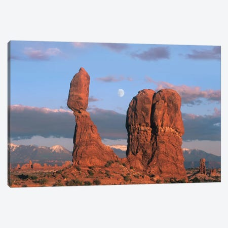 Moon Over Balanced Rock, Arches National Park, Utah Canvas Print #TFI608} by Tim Fitzharris Canvas Artwork