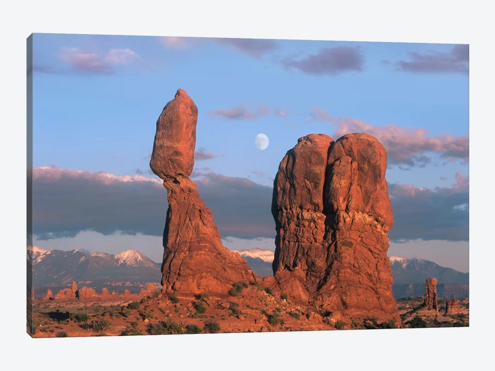 Moon Over Balanced Rock, Arches National Park, Utah by Tim Fitzharris 1-piece Canvas Artwork