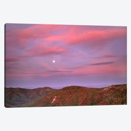 Moon Over Blue Ridge Range And Lost Cove Cliffs, Blue Ridge Parkway, North Carolina Canvas Print #TFI609} by Tim Fitzharris Canvas Art