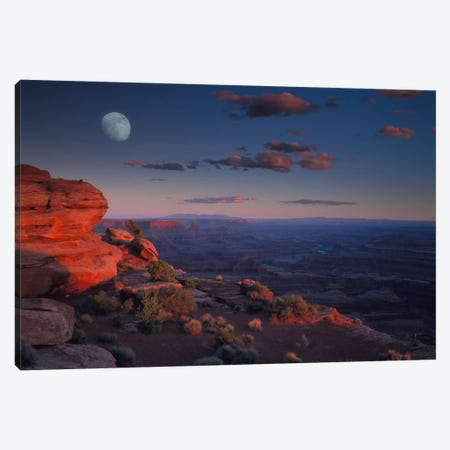Moon Over Canyonlands National Park From Green River Overlook, Utah Canvas Print #TFI610} by Tim Fitzharris Canvas Art Print