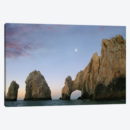 Moon Over El Arco, Cabo San Lucas, Mexico Canvas Print #TFI611} by Tim Fitzharris Canvas Art Print