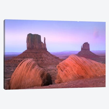 Moon Over Mittens, Monument Valley, Arizona Canvas Print #TFI612} by Tim Fitzharris Canvas Art Print
