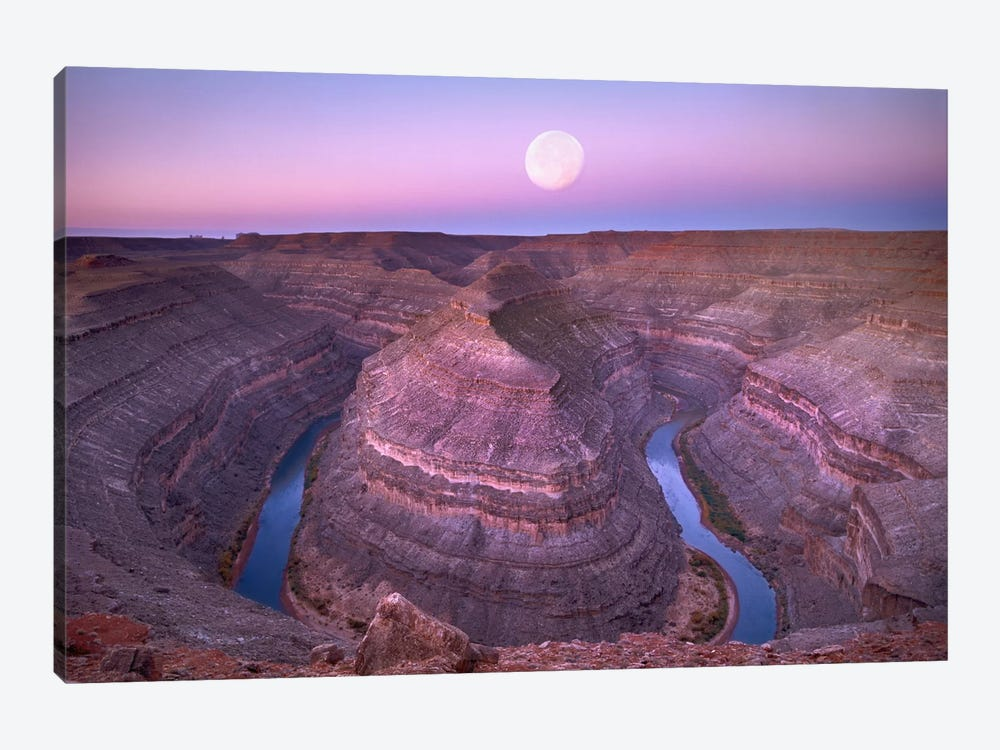 Moon Over San Juan River Flowing Through Goosenecks, Utah by Tim Fitzharris 1-piece Canvas Print