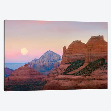 Moon Setting As Seen From Shelby Hill, Sedona, Arizona Canvas Print #TFI615} by Tim Fitzharris Canvas Artwork