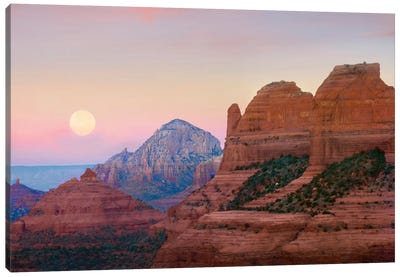 Moon Setting As Seen From Shelby Hill, Sedona, Arizona Canvas Art Print