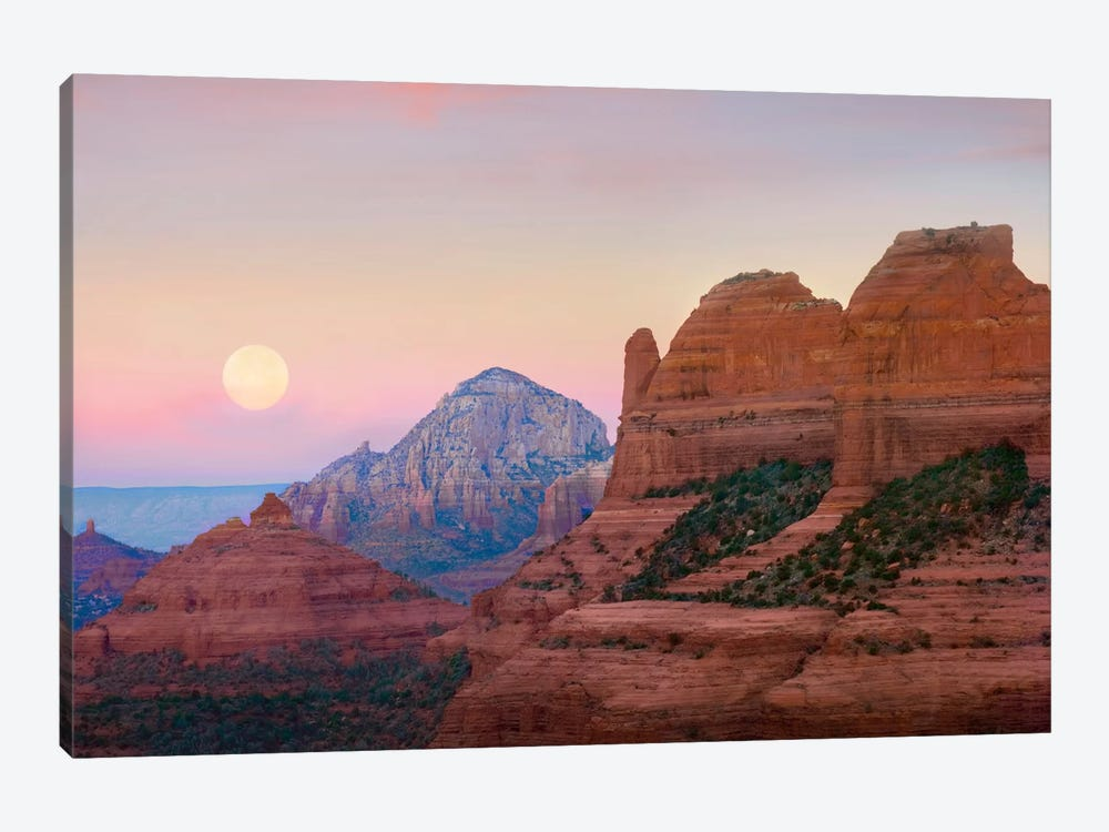 Moon Setting As Seen From Shelby Hill, Sedona, Arizona by Tim Fitzharris 1-piece Canvas Art