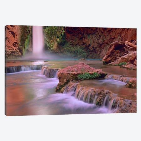 Mooney Falls Cascading Into Havasu Creek, Grand Canyon National Park, Arizona Canvas Print #TFI616} by Tim Fitzharris Canvas Wall Art