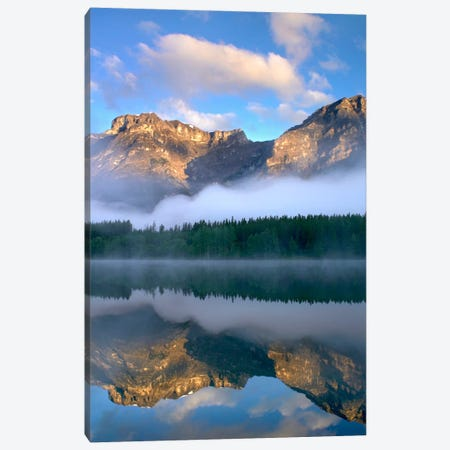 Morning Light On Mt Kidd As Seen From Wedge Pond, Alberta, Canada Canvas Print #TFI621} by Tim Fitzharris Canvas Art