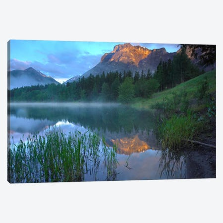 Morning Light On Mt Kidd, Mist Rising From Water, Kananaskis Country, Alberta, Canada Canvas Print #TFI622} by Tim Fitzharris Canvas Artwork