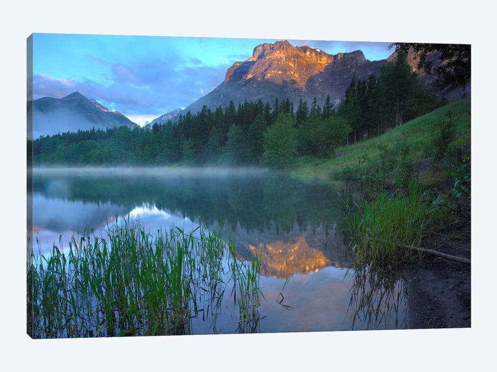 Morning Light On Mt Kidd, Mist Rising From Water, Kananaskis Country, Alberta, Canada by Tim Fitzharris 1-piece Canvas Art