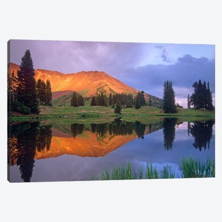 Mount Baldy At Sunset Reflected In Lake Along Paradise Divide, Colorado I Canvas Print #TFI627} by Tim Fitzharris Canvas Art Print