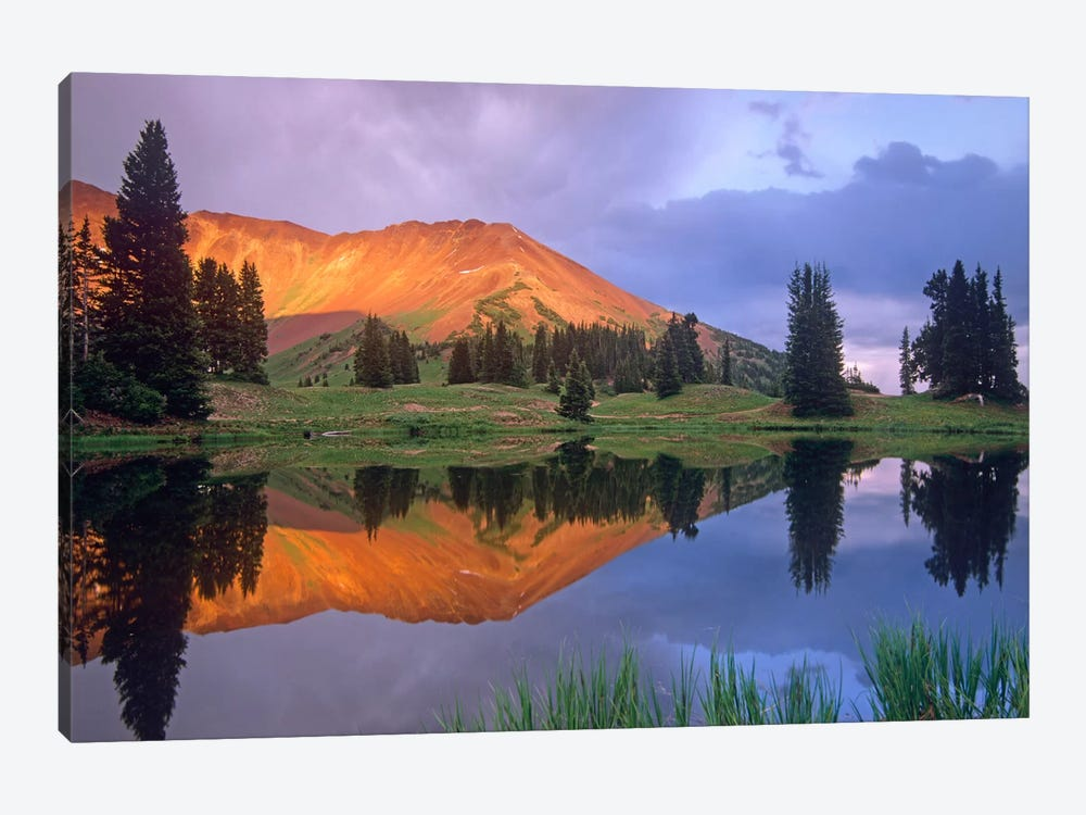 Mount Baldy At Sunset Reflected In Lake Along Paradise Divide, Colorado I by Tim Fitzharris 1-piece Canvas Art Print