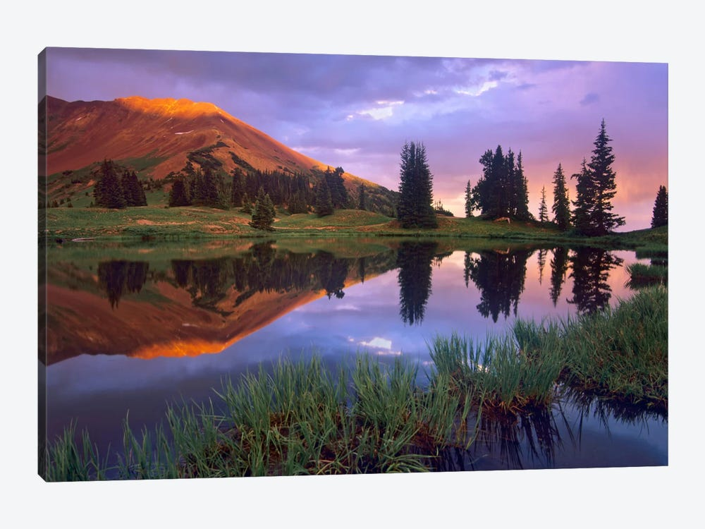 Mount Baldy At Sunset Reflected In Lake Along Paradise Divide, Colorado II by Tim Fitzharris 1-piece Canvas Artwork