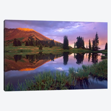 Mount Baldy At Sunset Reflected In Lake Along Paradise Divide, Colorado II Canvas Print #TFI628} by Tim Fitzharris Canvas Wall Art