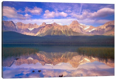 Mount Chephren Reflected In Waterfowl Lake, Banff National Park, Alberta, Canada Canvas Art Print