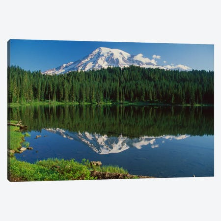 Mount Rainier And Reflection Lake, Mount Rainier National Park, Washington I Canvas Print #TFI637} by Tim Fitzharris Canvas Wall Art