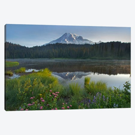 Mount Rainier And Reflection Lake, Mount Rainier National Park, Washington III Canvas Print #TFI639} by Tim Fitzharris Canvas Art Print