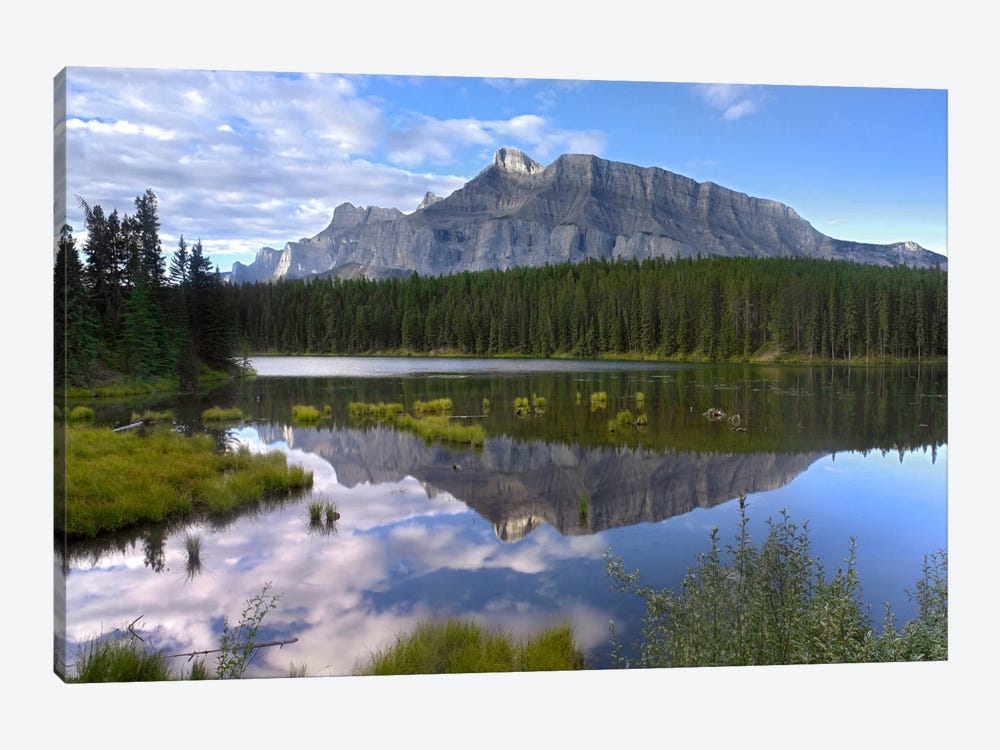 Mount Rundle And Boreal Forest Reflected In Johnson Lake, Banff National Park, Alberta, Canada I by Tim Fitzharris 1-piece Canvas Art Print