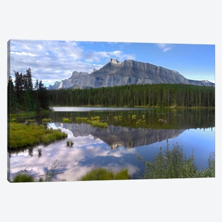 Mount Rundle And Boreal Forest Reflected In Johnson Lake, Banff National Park, Alberta, Canada I Canvas Print #TFI641} by Tim Fitzharris Canvas Artwork