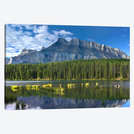 Mount Rundle And Boreal Forest Reflected In Johnson Lake, Banff National Park, Alberta, Canada II Canvas Print #TFI642} by Tim Fitzharris Canvas Artwork