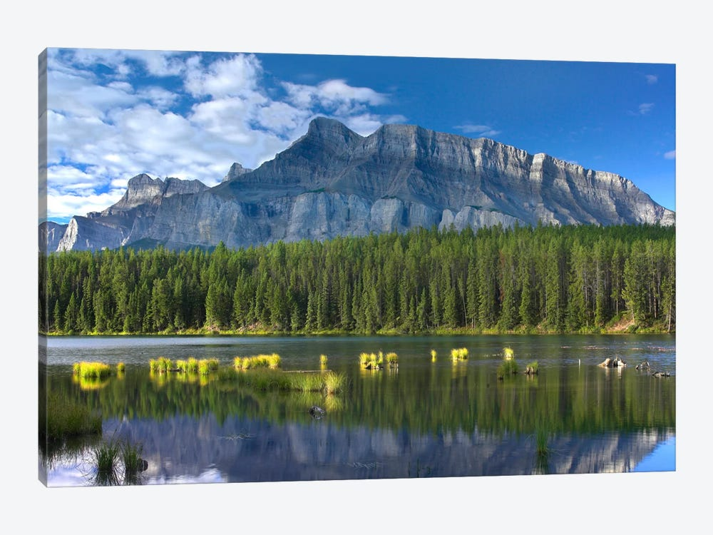 Mount Rundle And Boreal Forest Reflected In Johnson Lake, Banff National Park, Alberta, Canada II by Tim Fitzharris 1-piece Canvas Artwork