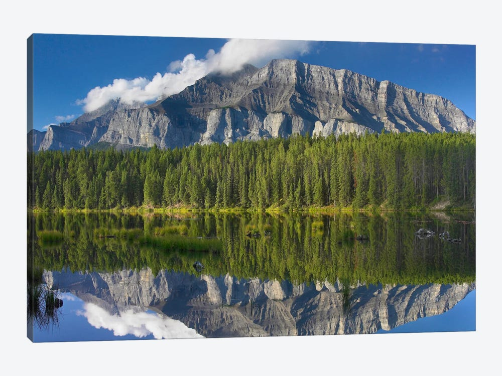 Mount Rundle And Boreal Forest Reflected In Johnson Lake, Banff National Park, Alberta, Canada III by Tim Fitzharris 1-piece Art Print