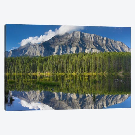 Mount Rundle And Boreal Forest Reflected In Johnson Lake, Banff National Park, Alberta, Canada III Canvas Print #TFI643} by Tim Fitzharris Canvas Wall Art
