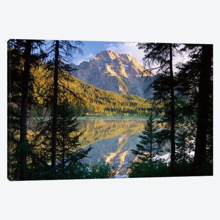 Mt Moran And String Lake, Grand Teton National Park, Wyoming Canvas Print #TFI658} by Tim Fitzharris Art Print