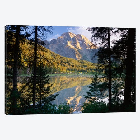 Mt Moran And String Lake, Grand Teton National Park, Wyoming Canvas Print #TFI658} by Tim Fitzharris Art Print
