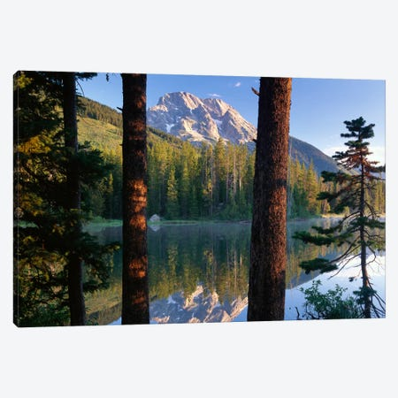 Mt Moran Reflected In String Lake, Grand Teton National Park, Wyoming Canvas Print #TFI660} by Tim Fitzharris Canvas Art