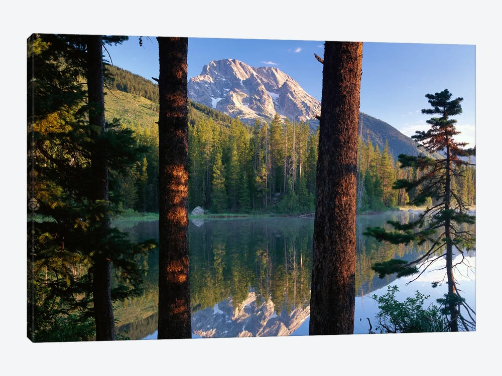 Mt Moran Reflected In String Lake, Grand Teton National Park, Wyoming 1-piece Canvas Art