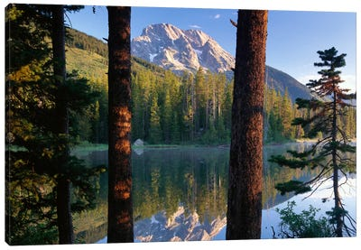 Mt Moran Reflected In String Lake, Grand Teton National Park, Wyoming Canvas Art Print
