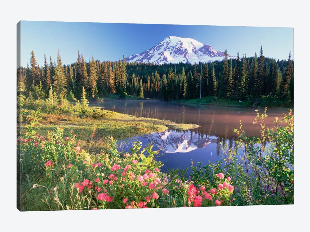Mt Rainier And Wildflowers At Reflection Lake, Mt Rainier National Park, Washington by Tim Fitzharris 1-piece Canvas Wall Art
