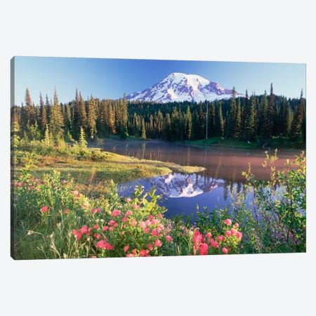 Mt Rainier And Wildflowers At Reflection Lake, Mt Rainier National Park, Washington Canvas Print #TFI664} by Tim Fitzharris Art Print