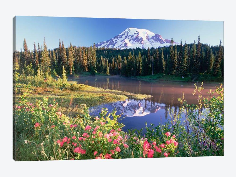 Mt Rainier And Wildflowers At Reflection Lake, Mt Rainier National Park, Washington by Tim Fitzharris 1-piece Canvas Wall Art
